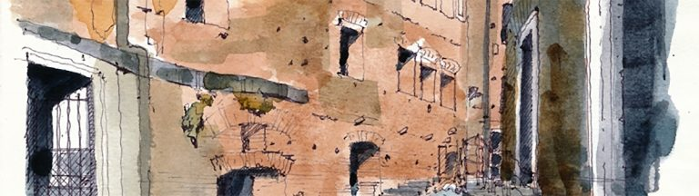 Illustration of the Trajan Market, Rome. Drawing classes and Urban Walks - C-Rome.